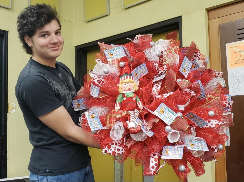 Lottery ticket wreath donated by the high school special education department