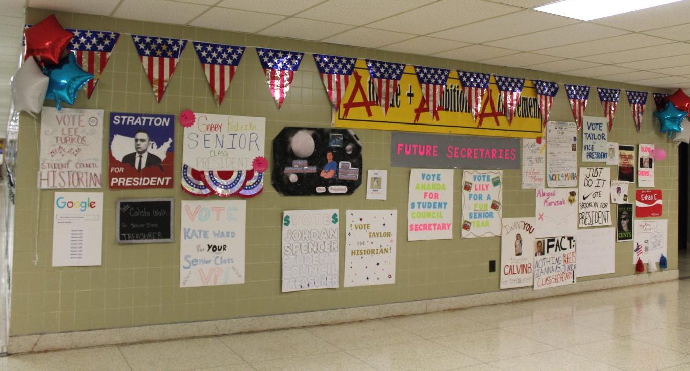Election posters for the class officer and student council candidates