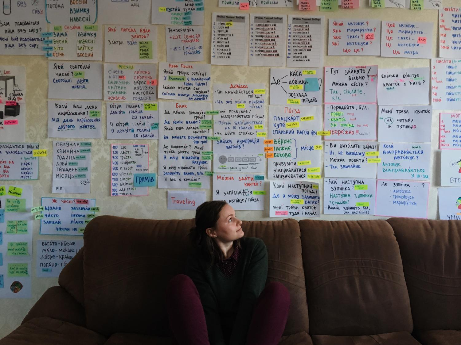 During her training, Katya had intensive language learning. Every time she'd learn something new, it would be taped onto the wall of her language teacher's house. This picture is only showing about 1/10 of everything that was taped on the walls!