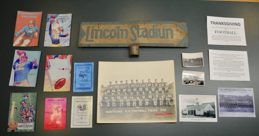 Pictured are the items donated for display by the Nanticoke Historical Society.