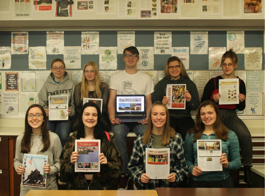 The GNA Insider: (Front row) Kayla Eckrote, Ashley Kocher, Emily Cullen, Jenna Baron. (Standing) Kim Smith, Morgan Burleigh, Lance Jenson, Jordan Spencer, Maya Davison.