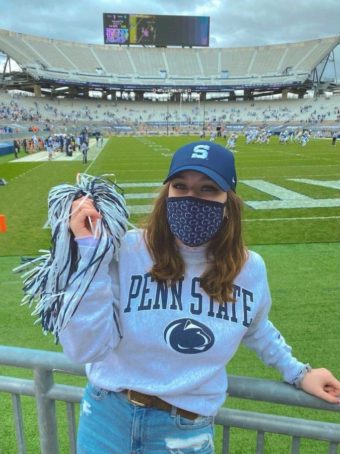 Gabby shows her Penn State pride at the football stadium.