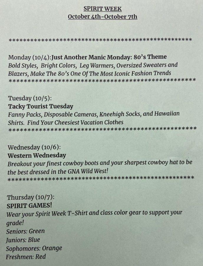Updated Spirit Week schedule.