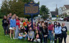 Students visit the John S. Fine historical marker.