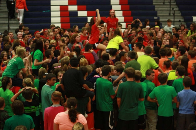 The student body back in 2013 coming together during the annual Spirit Games.