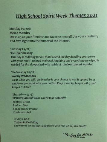 GNA Spirit Week schedule